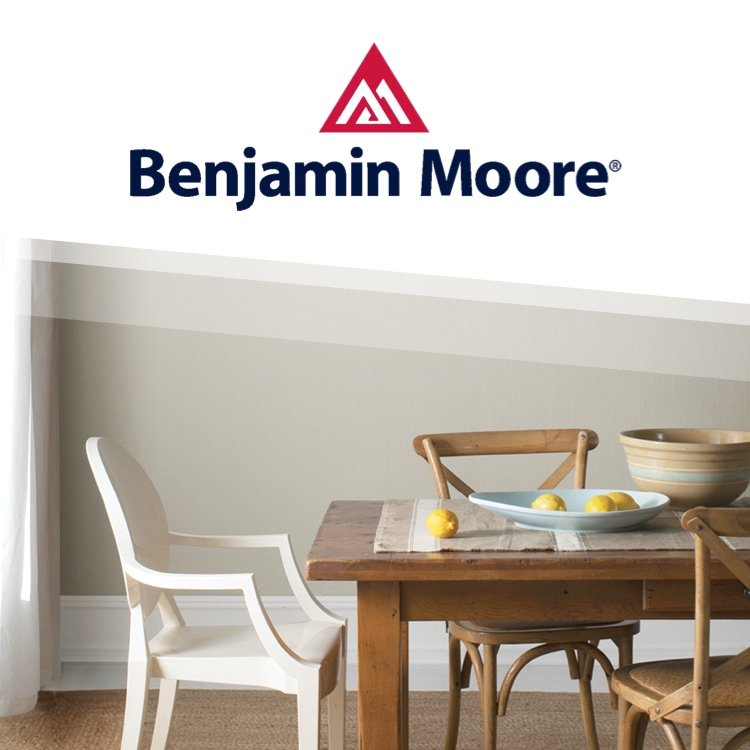 Benjamin Moore logo with Benjamin Moore painted dining room