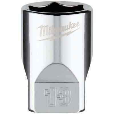 Milwaukee 1/4 In. Drive 13 mm 6-Point Shallow Metric Socket with FOUR FLAT Sides