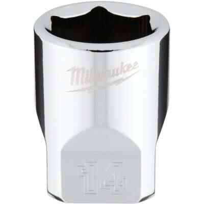 Milwaukee 1/4 In. Drive 14 mm 6-Point Shallow Metric Socket with FOUR FLAT Sides