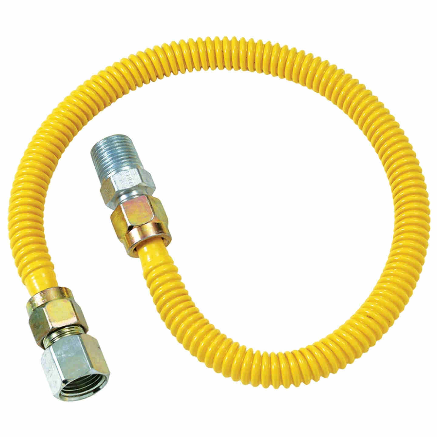Dormont 1/2 In. OD x 48 In. Coated Stainless Steel Gas Connector, 1/2 In. FIP x 1/2 In. MIP (Tapped 3/8 In. FIP) Image 1