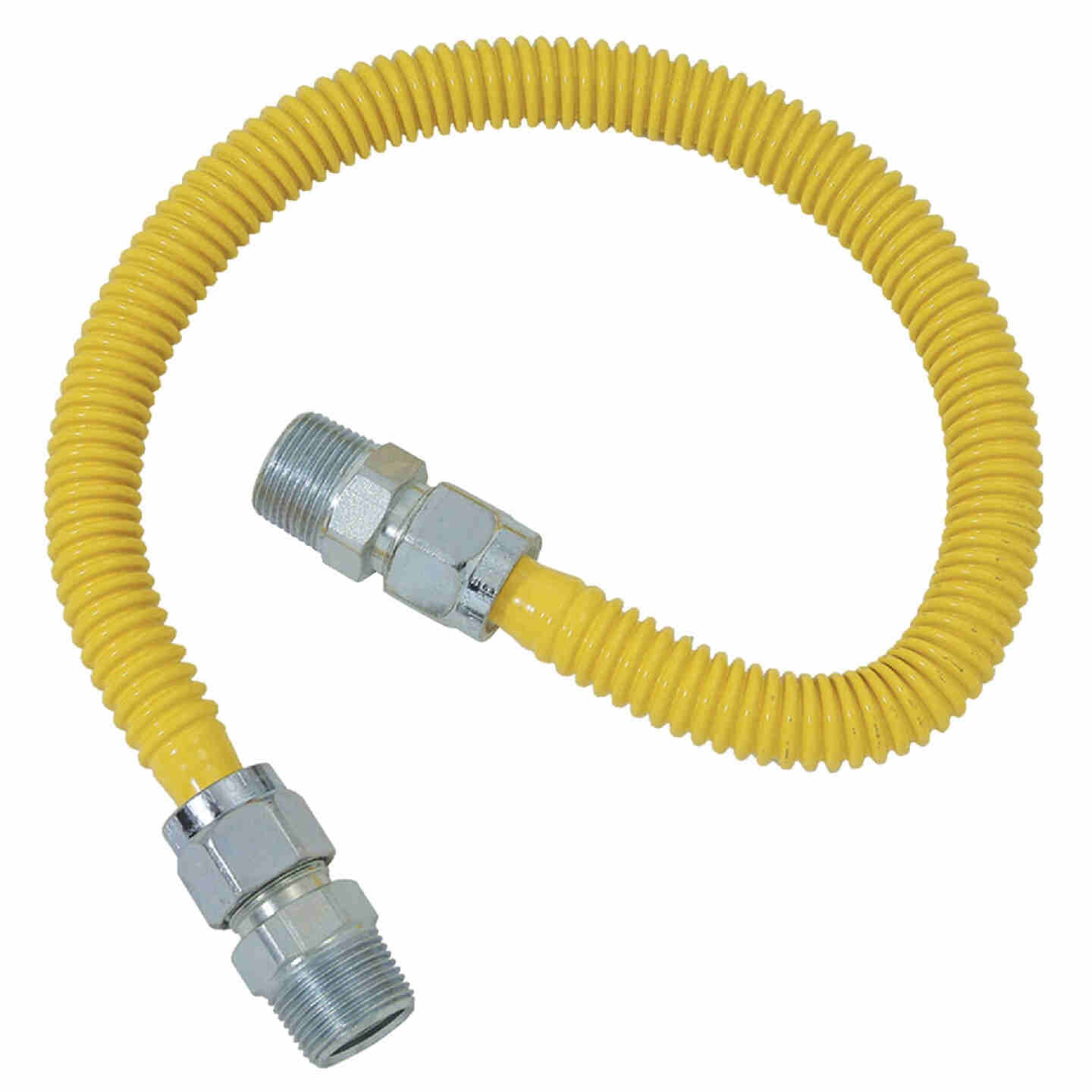 Dormont 5/8 In. OD x 48 In. Coated Stainless Steel Gas Connector, 1/2 In. MIP (Tapped 3/8 In. FIP) x 1/2 In. MIP (Tapped 3/8 In. FIP) Image 1