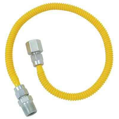 Dormont 3/8 In. OD x 24 In. Coated Stainless Steel Gas Connector, 1/2 In. FIP x 1/2 In. MIP (Tapped 3/8 In. FIP)