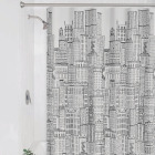 Zenith Zenna Home 70 In. x 72 In. White/Black PEVA Cityscape Shower Curtain Set Image 1