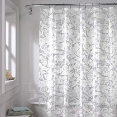 Zenith Zenna Home 70 In. x 72 In. White/Gray PEVA Seashell Shower Curtain Set