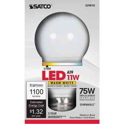 Satco 75W Equivalent Warm White A19 Medium Dimmable LED Light Bulb
