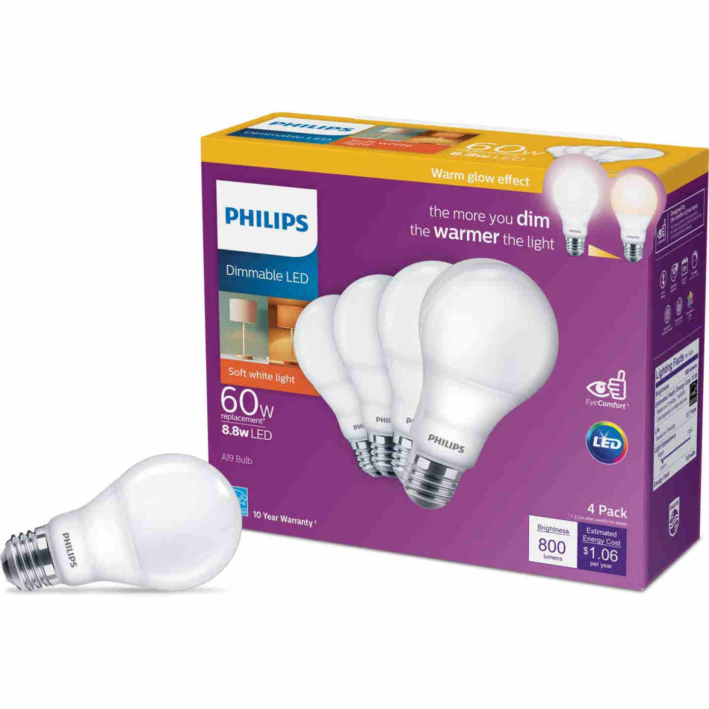 Philips Warm Glow 60W Equivalent Soft White A19 Medium Dimmable LED Light Bulb (4-Pack) Image 1