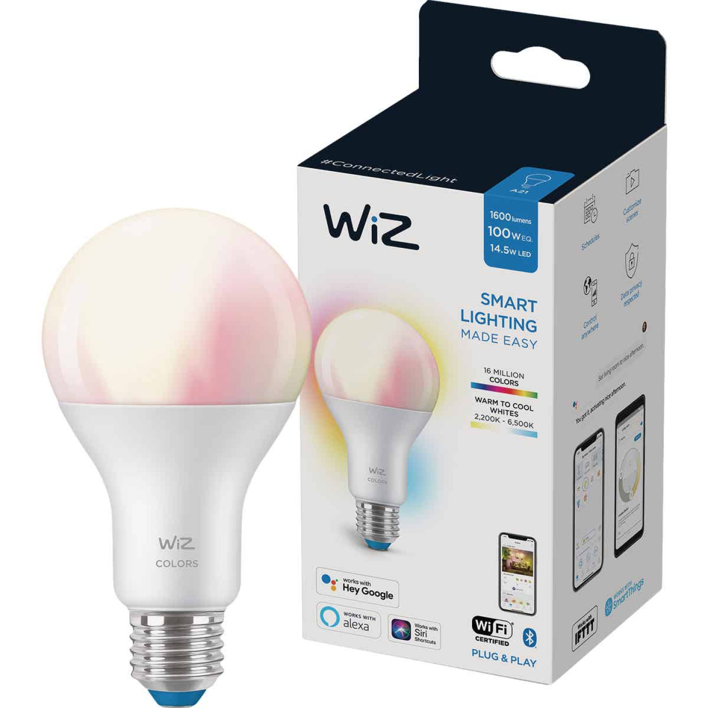 Wiz 100W Equivalent Color Changing A21 Medium Dimmable Smart LED Light Bulb Image 3