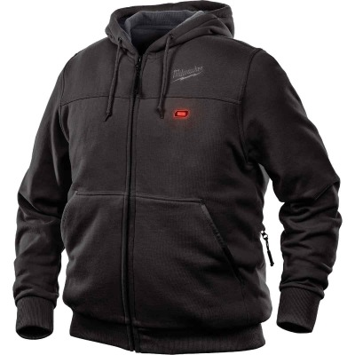 Milwaukee M12 2XL Black Men's Heated Full Zip Hooded Sweatshirt