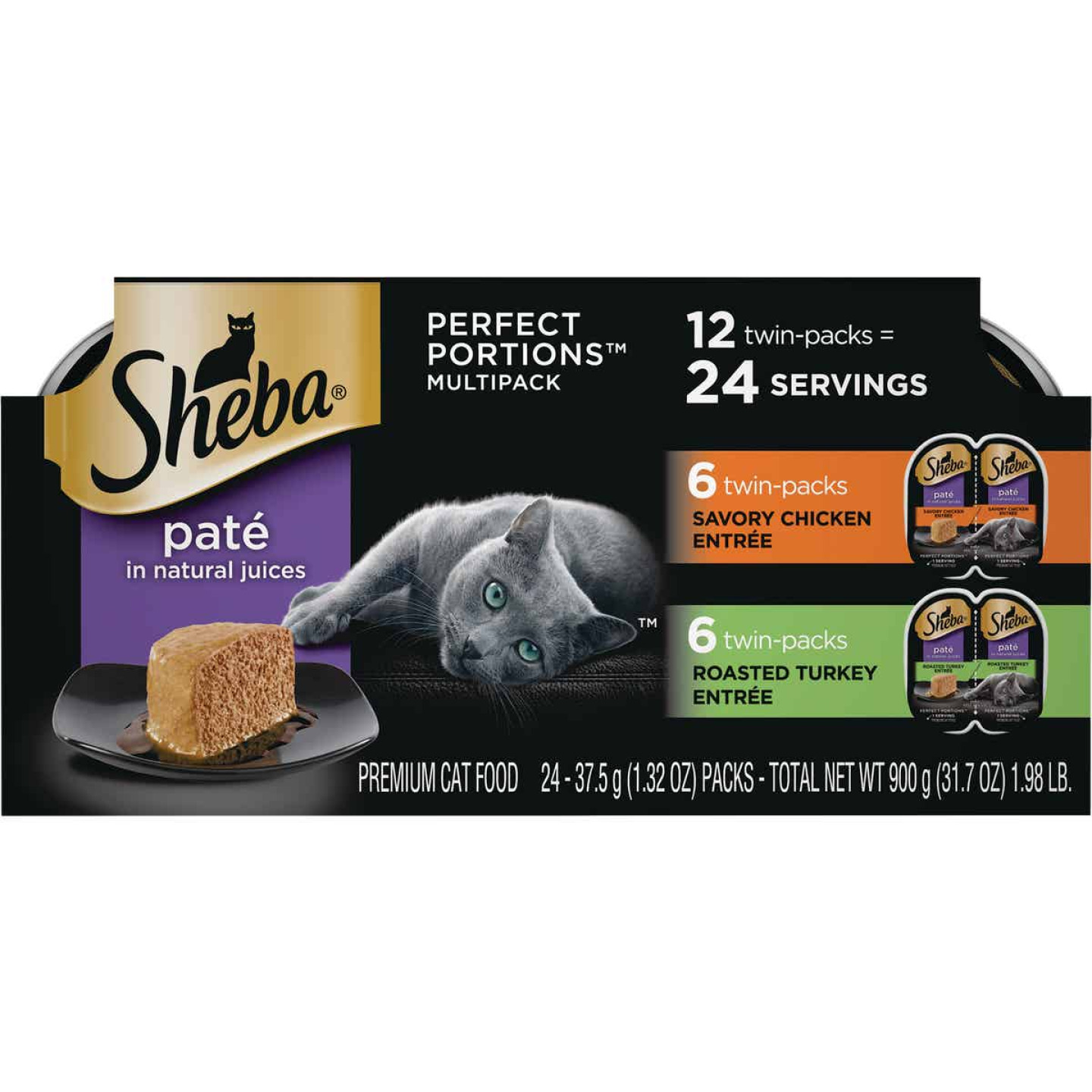 Sheba Perfect Portions Pate Adult Savory Chicken/Roasted Turkey Wet Cat Food (12-Pack) Image 1