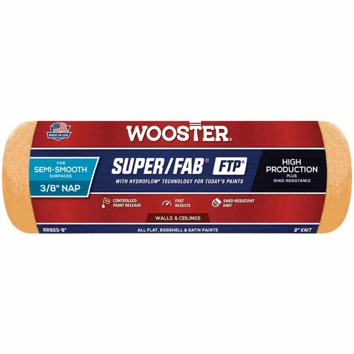 Wooster Super/Fab FTP 9 In. x 3/8 In. Knit Fabric Roller Cover Image 1