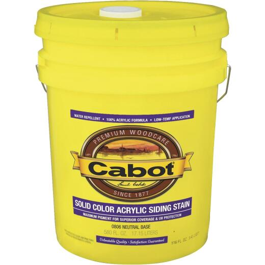 Cabot Solid Color Acrylic Siding Exterior Stain, Neutral Base, 5 Gal.
