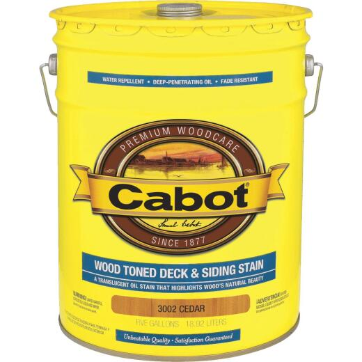 Cabot Alkyd/Oil Base Wood Toned Deck & Siding Stain, Cedar, 5 Gal.