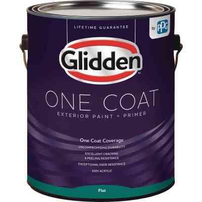 Glidden One Coat Exterior Paint + Primer Flat Ultra Deep Base 1 Gallon