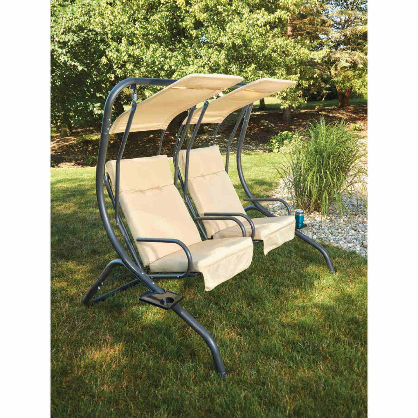 Outdoor Expressions 2-Person 67 In. W. x 67 In. H. x 53.5 In. D. Tan Patio Swing Image 5
